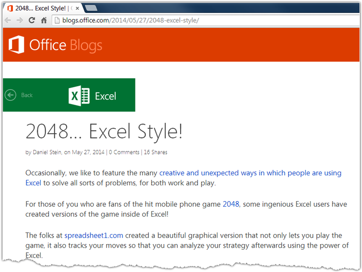 2048 Excel style