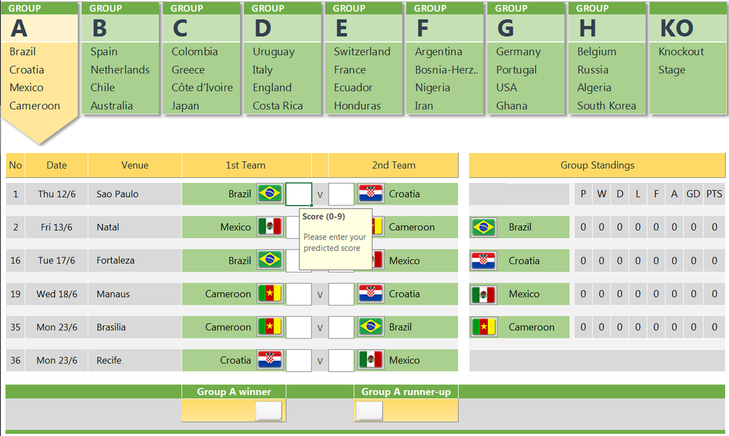 FIFA World cup 2014 free prediction template in Excel