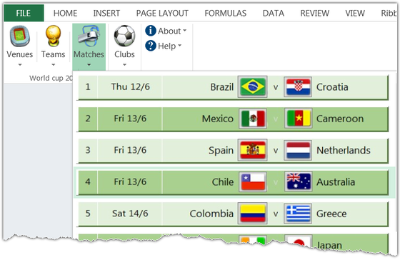 FIFA World cup 2014 match schedule in a Ribbon menu shown in Excel 2013