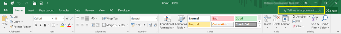 Remove tell me what you want to do search box in Ms Office Excel 2016