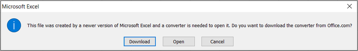 This file was created by a newer version of Microsoft Excel and a converter is needed to open it