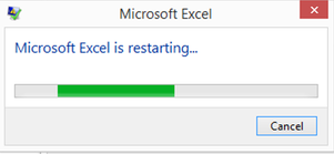 Excel is restarting