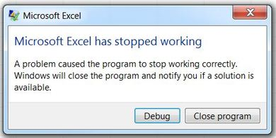 Excel has stopped working!