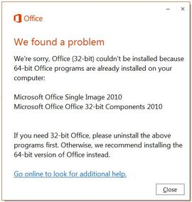Office 32 64 bit error