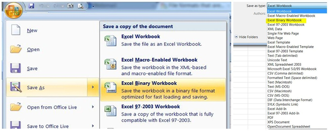 How to save as binary Excel workbook  XLSB