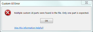 Multiple custom UI parts were found in the file. Only one part is expected