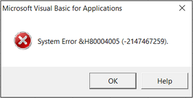 System Error in Excel