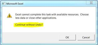 Excel cannot complete task with available resources