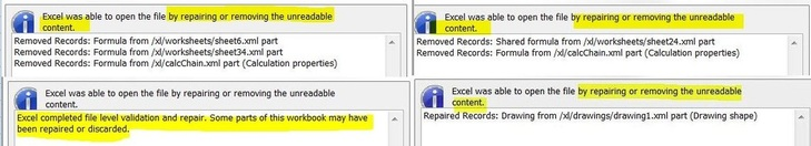 Excel was able to open the file by repairing or removing unreadable content