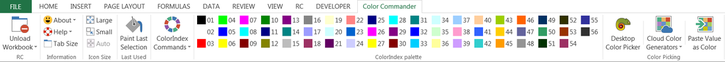 Excel Color Commander ribbon