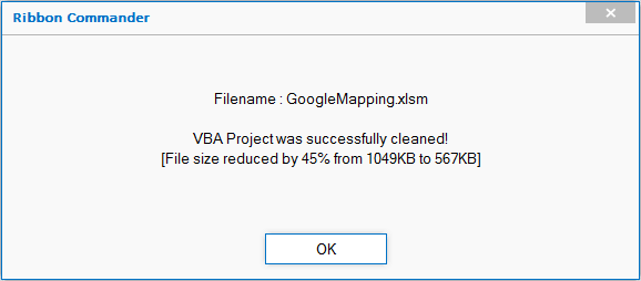 VBA file shrinks
