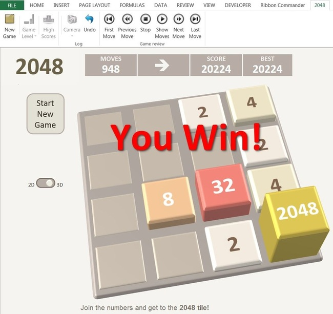 2048 Game in Excel 3D