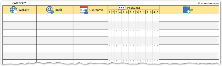 Printable password manager log template