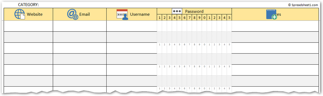 password manager spreadsheet template