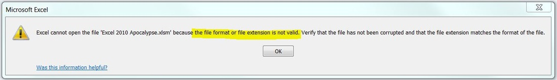 Excel cannot open the file <filename>