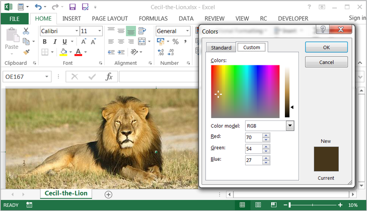 Cecil the Lion in Excel
