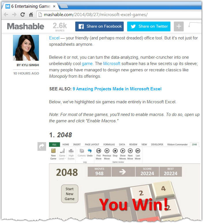 2048 Excel game in mashable
