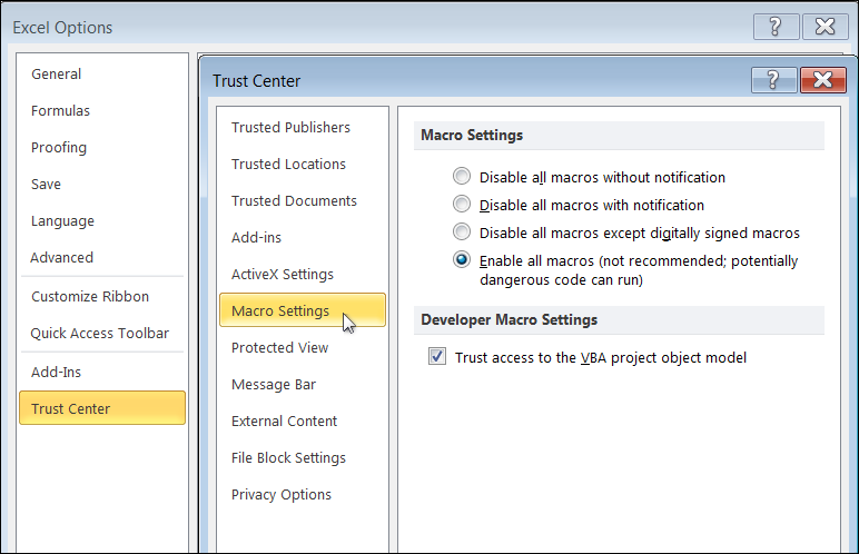 How to enable macros in office excel 2007 or later pause ccuart Images