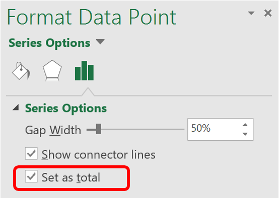 Format data point in waterfall chart