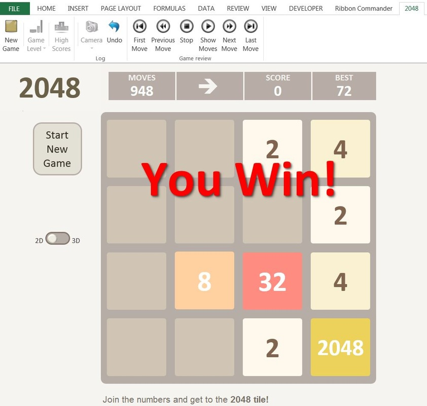 2048 game version for Excel