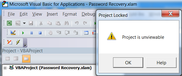 excel 2010 remove vba project password
