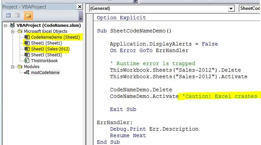 Vba codenames codename pitfall how to rename a sheet codename ibookread PDF