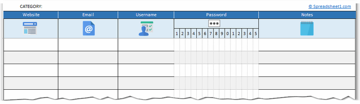 Printable password tracker Excel template